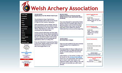 Welsh Archery Association - Designed by Martin Nash and Hosted by Weboriel, click here to view more information